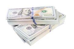 100 долларов на белой предпосылке Стоковое фото RF