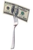 100 долларов на вилке Стоковое Фото