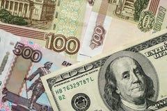 100 долларов на русских деньгах Стоковая Фотография