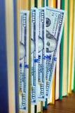 100 долларов лож между страницами Стоковая Фотография RF