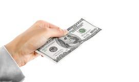 100 долларов долларов в руке Стоковая Фотография RF