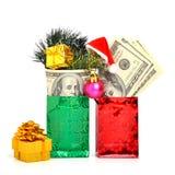 100 долларов подарка в пакете с шляпой рождества Стоковая Фотография RF