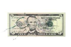 100 долларов под сломленным стеклом Стоковые Фотографии RF