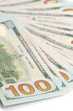 100 долларов предпосылки бумажных денег Стоковые Фото