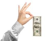 100 долларов руки Стоковая Фотография RF