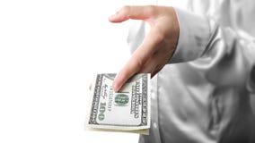 100 долларов руки Стоковое Изображение