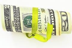 20 долларов свернутых вверх Стоковые Фото