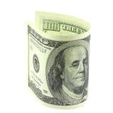 100 долларов свернутых в крене Стоковые Изображения