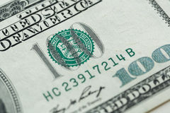 100 долларов счета в конце валюты США вверх Стоковая Фотография RF