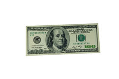 100 долларов счета изолированного на белизне Стоковое Фото