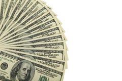 100 долларов счета на белой предпосылке Стоковое Фото