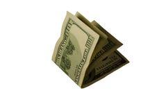 100 долларов счетов изолированных на белизне Стоковое Изображение
