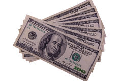 100 долларов счетов изолированных на белизне Стоковое фото RF