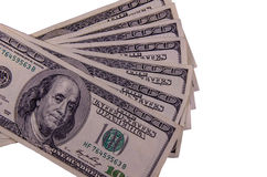 100 долларов счетов изолированных на белизне Стоковое Изображение RF