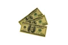 100 долларов счетов изолированных на белой предпосылке Стоковая Фотография