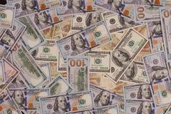 100 долларов США Много банкнот Бенджамин Франклин, независимость Hall Стоковые Изображения RF