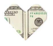 100 долларов сложили в изолированное сердце Стоковое Фото