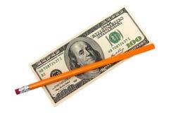 100 доллары и карандашей Стоковое Фото