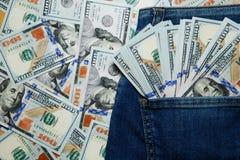 доллары карманн джинсыов Стоковое Изображение