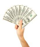 доллары руки вентилятора держат людей s Стоковое Фото