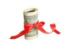 доллары счета 100 изолированных белизн Стоковые Изображения