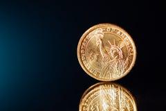 доллар монетки золотистый Стоковое фото RF