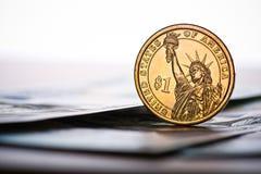доллар одно монетки мы Стоковая Фотография