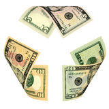 доллар счета рециркулирует знак Стоковые Изображения