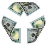 доллар счета рециркулирует знак Стоковая Фотография RF