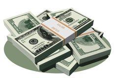 доллар счетов предпосылки 3d представляет стог белым Стоковое Изображение