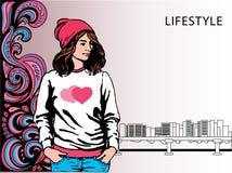 одевает модную девушку Битник также вектор иллюстрации притяжки corel Стоковые Фото