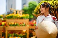 одежда традиционная Вьетнам Азиатская девушка в национальном Traditiona Стоковые Фотографии RF