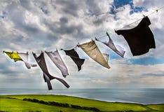 Одежды вися на линии Стоковая Фотография RF