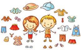 Одежды лета установленные для мальчика и девушки, деталей можно положить дальше иллюстрация вектора