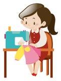 Одежды женщины шить с машиной иллюстрация вектора