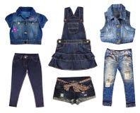 Одежды джинсов женские изолированные на белизне. стоковые фотографии rf