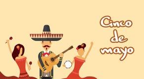 Одежды мексиканской носки группы людей традиционные празднуют мексиканський национальный праздник Cinco De Mayo иллюстрация штока