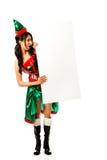 Одежды эльфа женщины нося держа знамя Стоковые Изображения RF