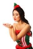 Одежды эльфа женщины нося дуя поцелуй Стоковое Изображение
