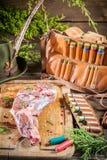 Оленина подготовила охотником в forester Стоковая Фотография RF