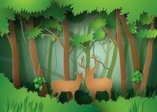 Олени в лесе иллюстрация штока