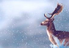Олени в зиме бесплатная иллюстрация