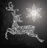 Олени и снежинка Стоковые Изображения