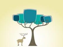Олени под силуэтом дерева Стоковые Фото