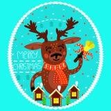 Олени рождества с колоколом дополнительный праздник формата карты рождество веселое иллюстрация вектора