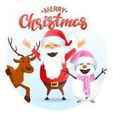 Олени с Рождеством Христовым, Санты и снеговик Иллюстрация штока