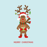 Олени шаржа рождества в шляпе Санта Клауса Стоковое Изображение