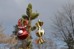 Олени шарика украшения и конфета шарика для изолированного объекта рождественской елки Стоковое фото RF