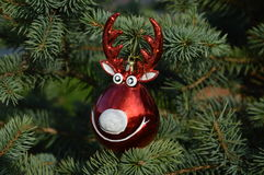 Олени шарика украшения для изолированного объекта рождественской елки Стоковые Фото