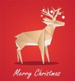 Олени Origami, поздравительная открытка рождества, иллюстрация вектора, eps10 Стоковые Изображения RF